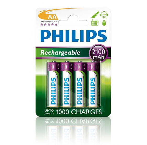 Pila recargable PHILIPS AA Pack-4 2100 mAh